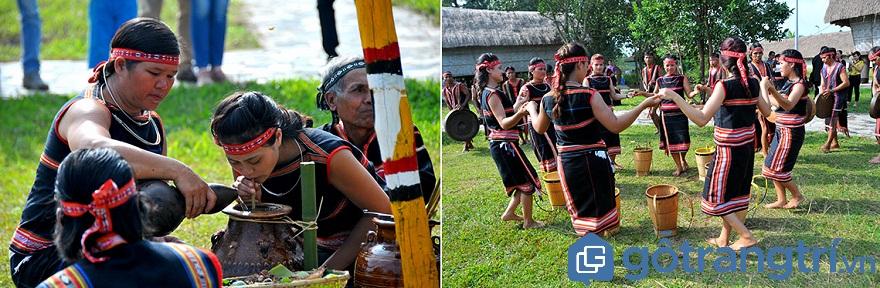 Phong tục của người Gia Rai: Các cô gái Gia Rai dặt dìu trong điệu múa truyền thống. (Ảnh:Internet)