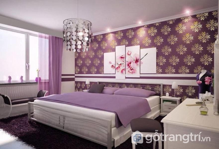 Bức tường phòng ngủ sơn hình những bông tuyết long lanh - Ảnh: Internet