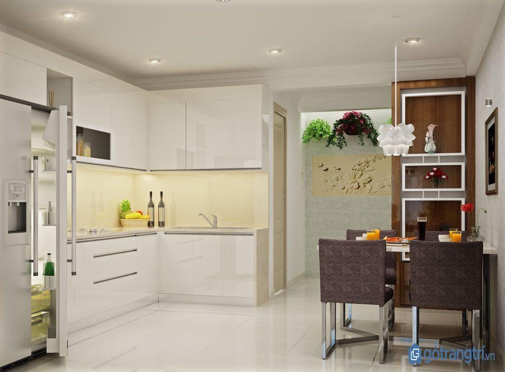 Căn bếp thông minh với kệ bếp hình chữ L có tính ứng dụng cao, phù hợp với nhiều không gian khác nhau. (ảnh: internet)