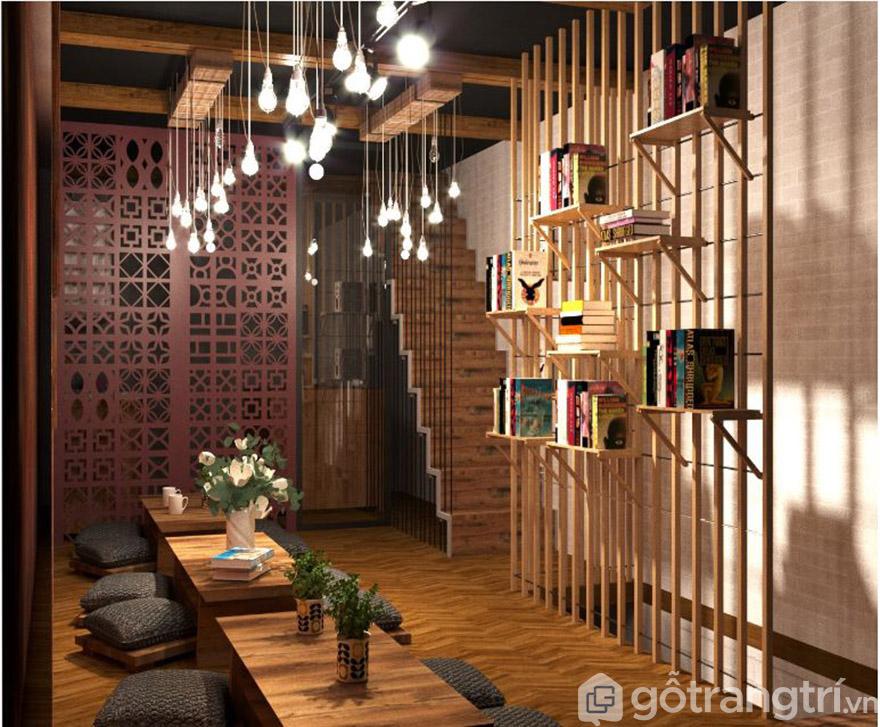 Cafe sách kết hợp không gian gỗ tạo sự tinh tế, sâu lắng