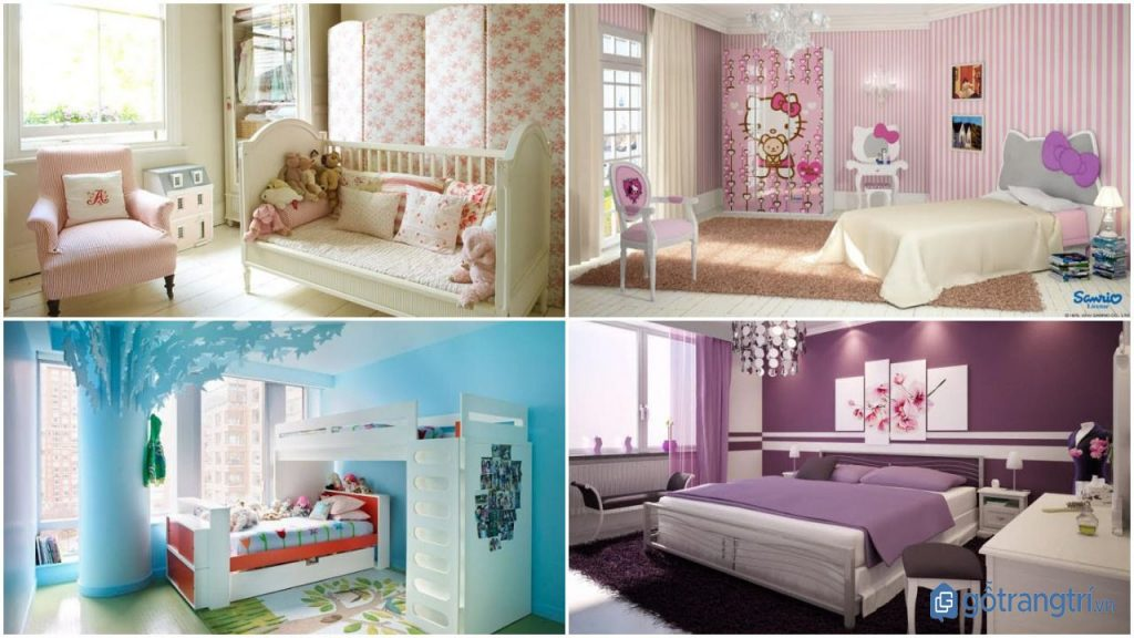Một số gam màu yêu thích trong thiết kế phòng ngủ bé gái đẹp. (ảnh: internet)