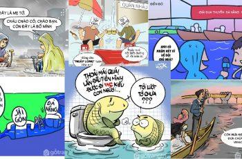 Đà Nẵng ngập qua góc nhìn tranh biếm họa