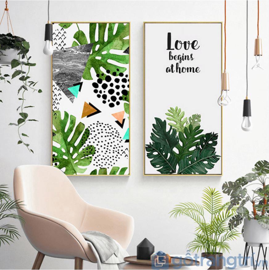 Không gian phòng khách sáng tạo với những mẫu trang tranh trí chủ đề cây cối