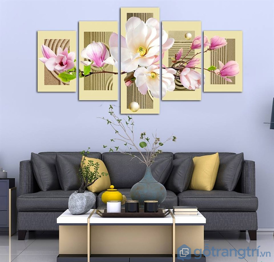 Sáng tạo phòng khách với tranh bộ nghệ thuật về hoa