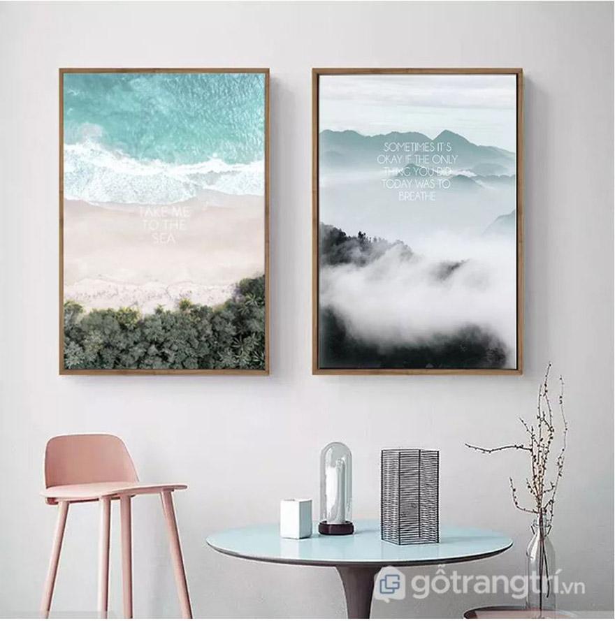 Tranh trang trí phòng khách đơn giản, tạo sự thư thái, thanh tịnh
