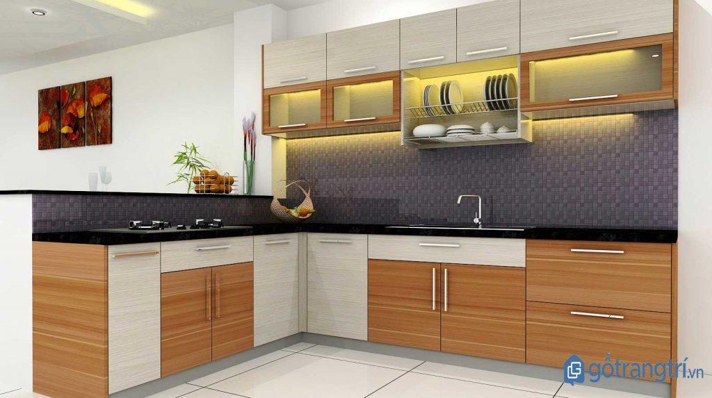 Tủ, kệ bếp gỗ MDF kết hợp kính sang trọng, hiện đại cho phòng bếp. (ảnh: internet)