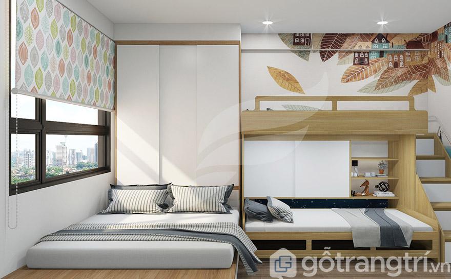 Gam màu sáng giúp không gian phòng ngủ thêm thoáng rộng