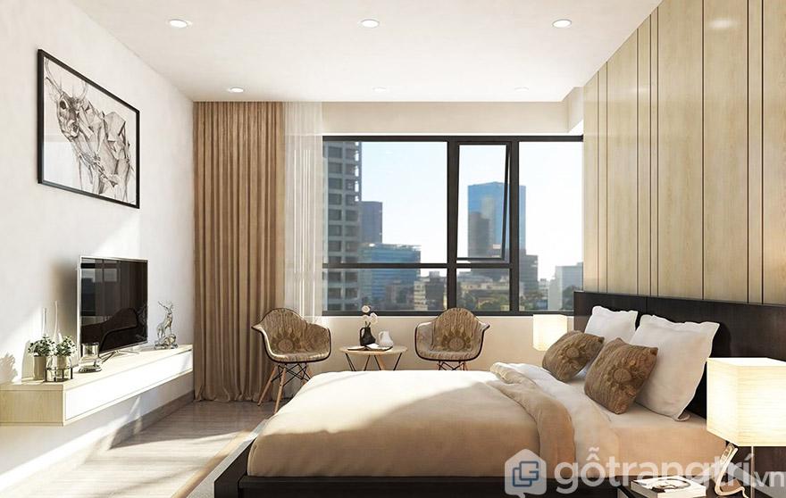 Ánh sáng cũng đóng góp một phần quan trọng trong bài trí phòng ngủ