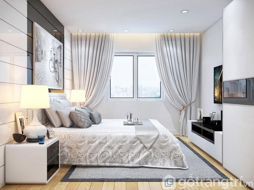 Đầy đủ kệ tivi, giường mà thiết kế chưa đến 45m2
