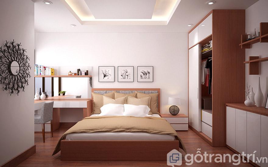 Dùng nội thất gỗ và gam màu trầm làm màu chủ đạo cho không gian phòng ngủ thư thái