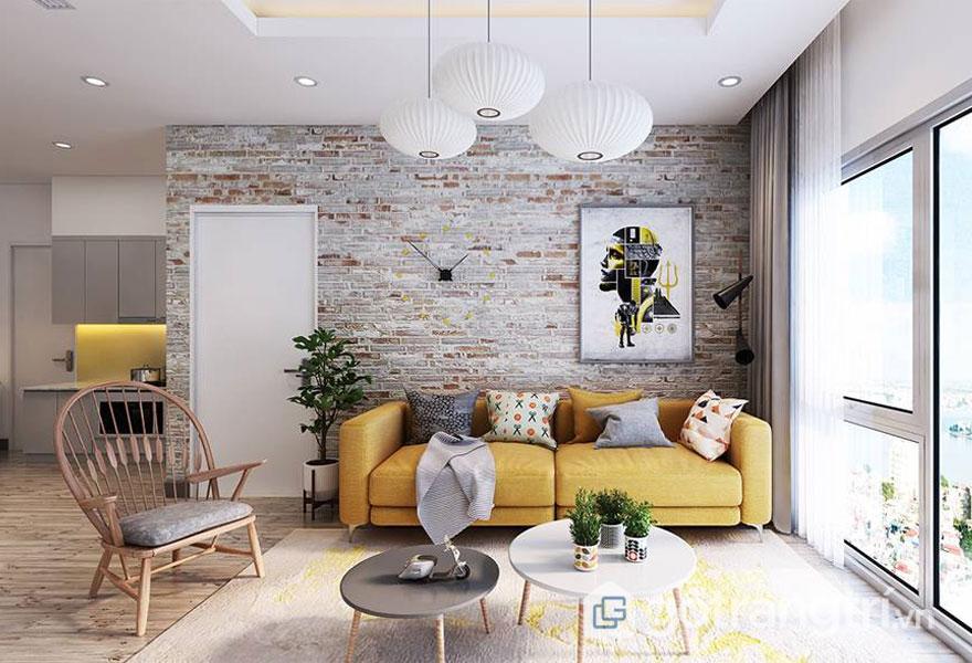 Điểm nhấn hoàn hảo với căn phòng khách khi không tuân theo tỷ lệ màu sắc - Ảnh: Internet