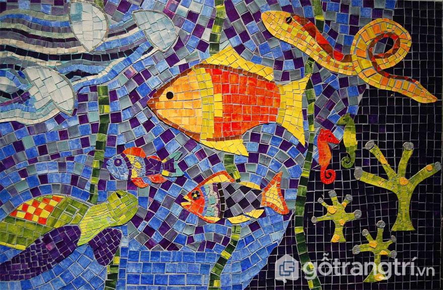 Gạch mosaic làm tranh ghép - Ảnh: Internet