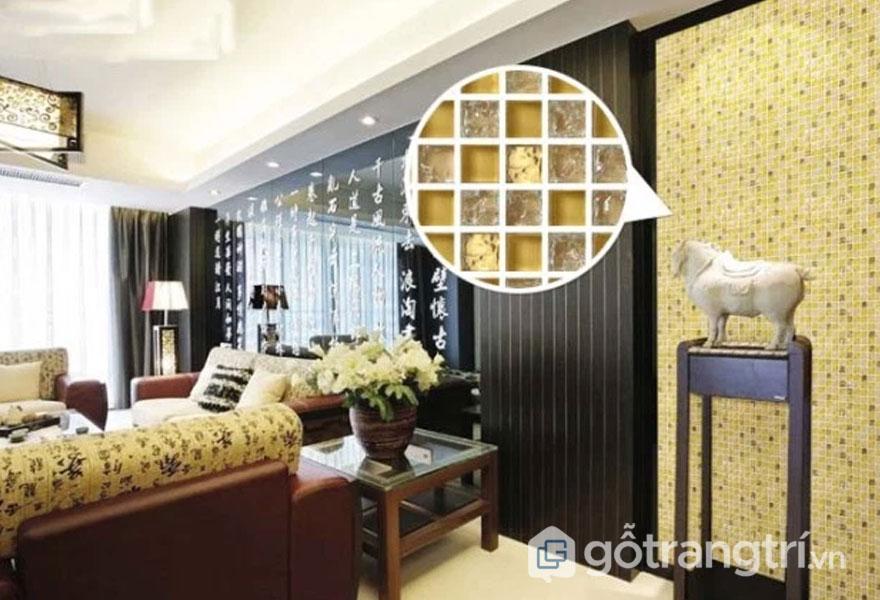Gạch mosaic thủy tinh ốp tường phòng khách - Ảnh: Internet