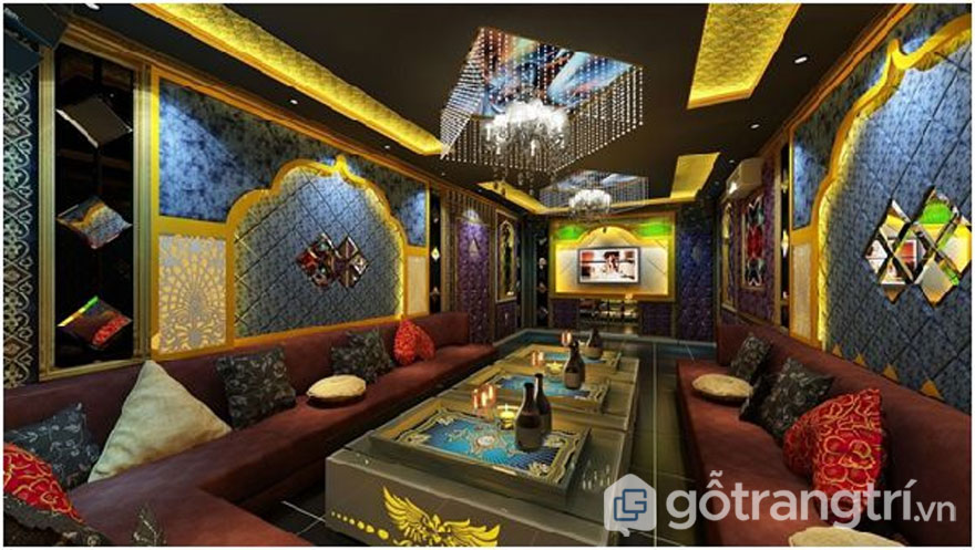 Gạch mosaic ốp tường phòng karaoke - Ảnh: Internet