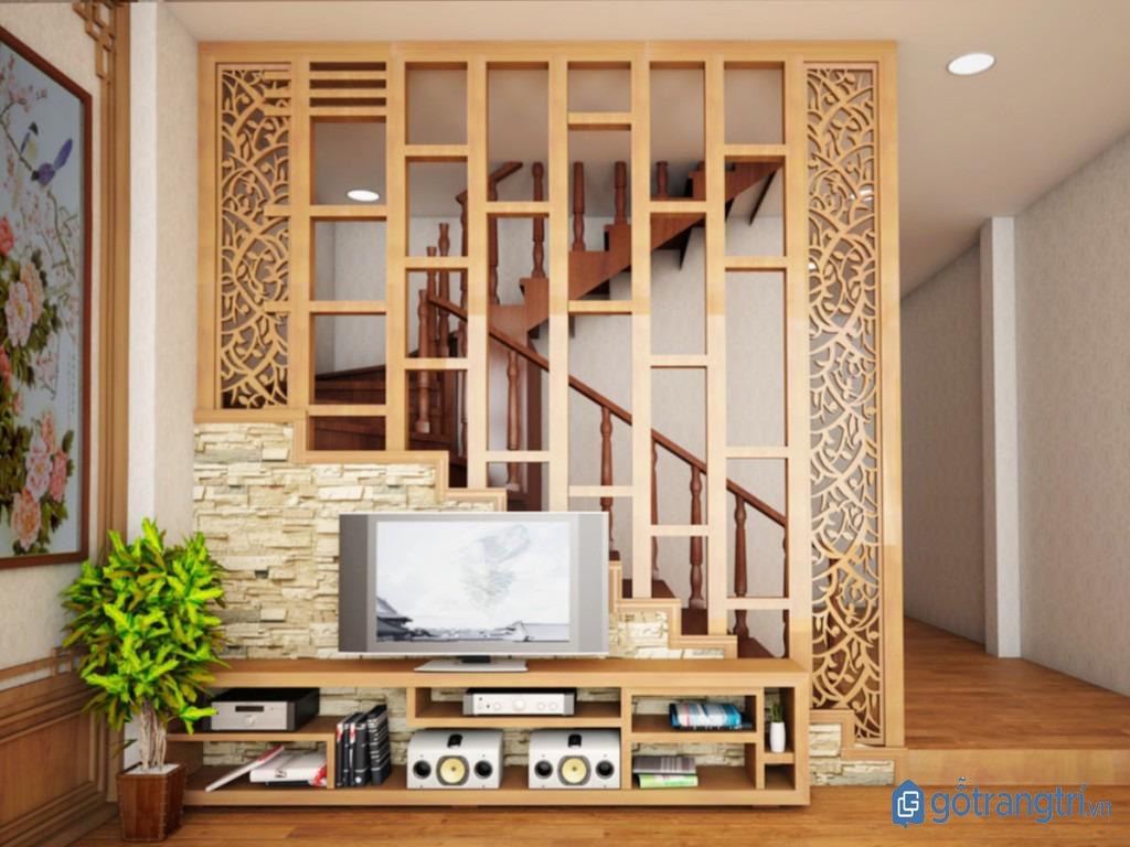 Vách ngăn trang trí bằng gỗ MDF sang trọng, hiện đại. (ảnh: internet)