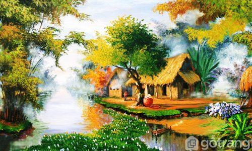 [ Xu hướng ] Chọn tranh phong cảnh làng quê tạo sự yên bình cho không gian phòng khách