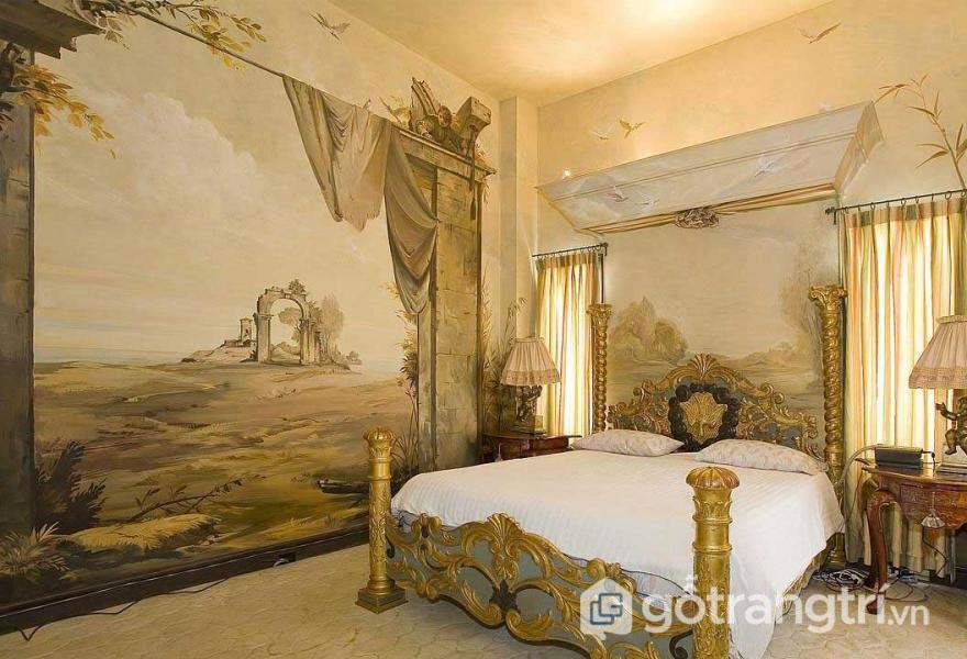 Tường phòng ngủ trang trí cây cối, chim muông (Ảnh: Internet)
