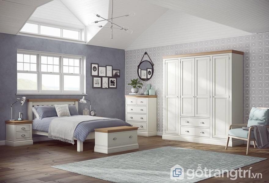 Tủ quần áo nên đặt tại vị trí bên trái giường ngủ - ảnh internet