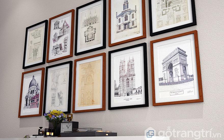 Đo kích thước tranh để đảm bảo tính thẩm mỹ của tranh trang trí.
