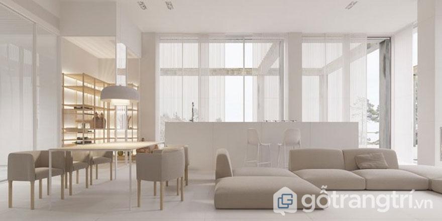 Màu trắng kết hợp với màu vỏ trứng và màu gỗ nên không hề cũ cho phòng khách. Những đồ nội thất đơn giản này nhưng toát lên sự độc đáo và mang tính hiện đại cho căn phòng (Ảnh: Internet)
