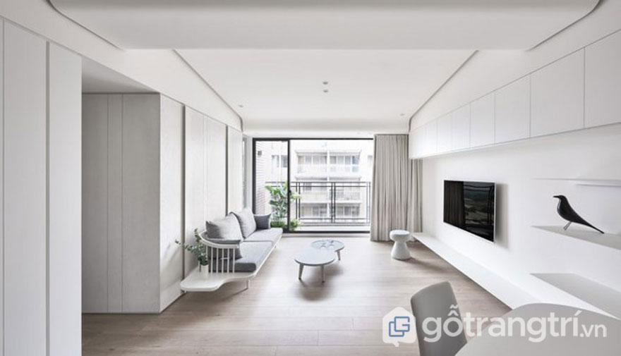 Sử dụng gam màu tối giản sẽ giúp không gian phòng khách thoáng rộng hơn rất nhiều (Ảnh: Internet)
