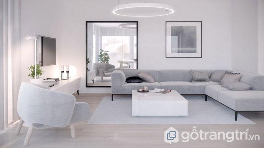 Tối giản về đồ nội thất sẽ giúp bạn mở rộng về không gian. Việc sử dụng những chiếc gương phản chiếu kết hợp với khung cảnh thiên nhiên sẽ mang đến sự rộng thoáng cho căn phòng và không gian xanh của cây cối (Ảnh: Internet)