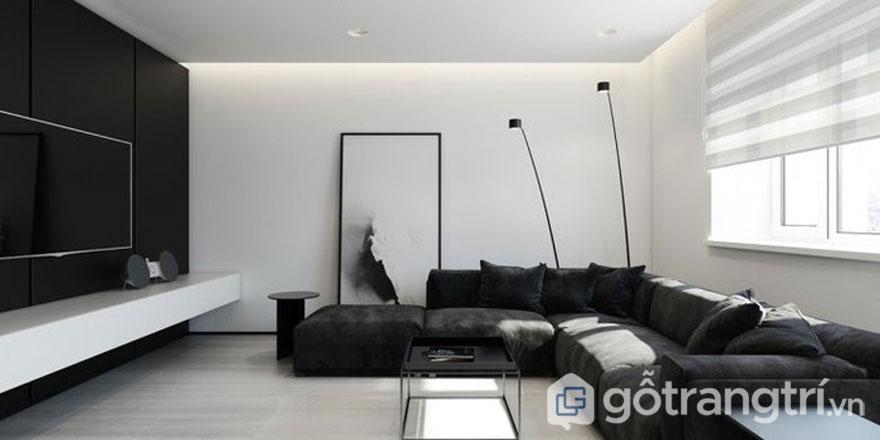 Phòng khách này được trang trí với tông màu đơn sắc khi sơn tường đen, dùng ghế ngồi bằng nhung cũng đen và chiếc bàn uống nước cũng màu đen nhưng không hề gây ra sự nhàm chán (Ảnh: Internet)