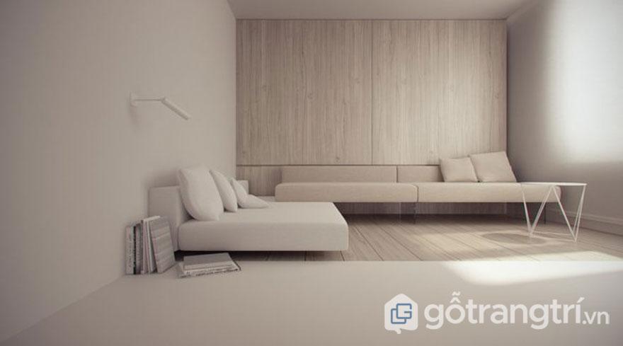 Việc kết hợp với những kết cấu nội thất trái ngược sẽ giúp căn phòng khách này trở nên vô cùng sống động. Vân gỗ nổi lên trên tủ hay dưới sàn nhà khi được kết hợp chiếc bàn uống nước làm từ kim loại, ghế sofa bằng nhung mịn mang đến sự hài hòa ăn ý với nhau (Ảnh: Internet)