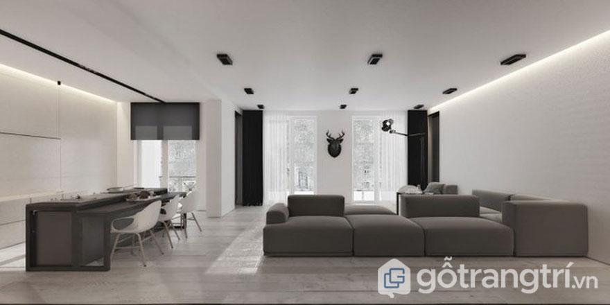 Màu trắng, đen và màu lông chuột khi được kết hợp với nhau tạo không gian phòng khách thêm hoàn hảo.