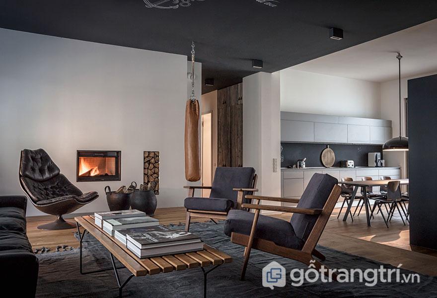 Phòng khách nổi bật với đồ nội thất từ gỗ (Ảnh: Internet)