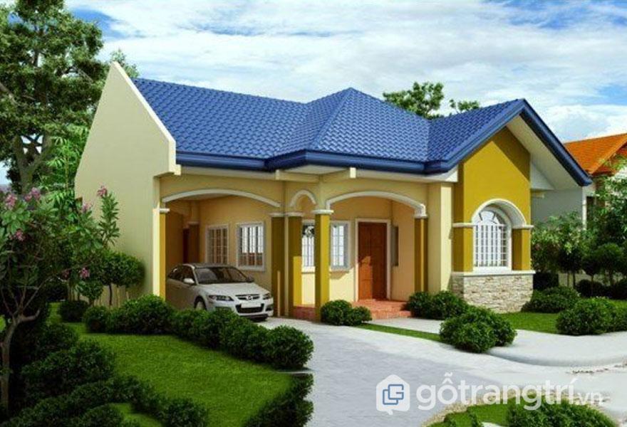 Mẫu nhà cấp 4 có sân vườn và gara ô tố trị giá 500 triệu (Ảnh: Internet)