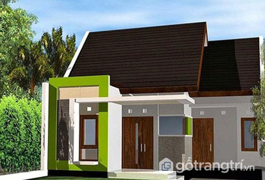 Nhà cấp 4 nổi bật với tông màu xanh phần tường và nâu mái thái (Ảnh: Internet)