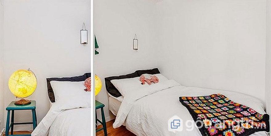 Thiết kế nhà theo phong cách retro với không gian phòng ngủ khá gọn nhẹ (Ảnh: Internet)