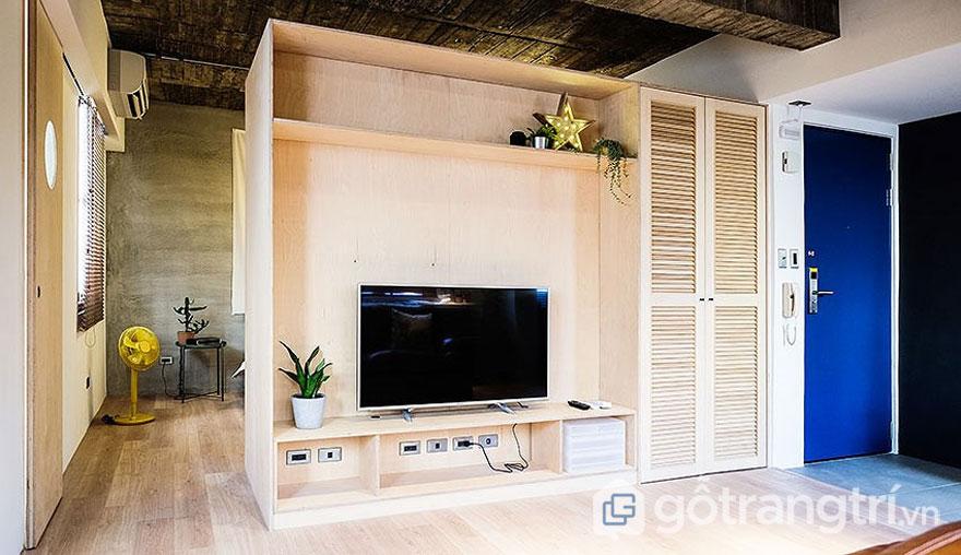 Chất liệu gỗ của sàn, ốp tường, trần căn hộ tạo cảm giác gắn liền với quá khứ (Ảnh: Internet)