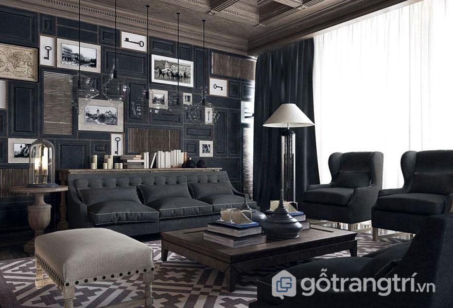 Bức tường nhà phong cách tân cổ điển được bài trí nhiều dòng tranh ảnh (Ảnh: Internet)