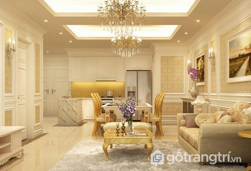Nét đẹp cổ điển hòa trộn với nét đẹp hiện đại luôn tạo được sự gợi cảm, cuốn hút cho căn phòng khách này (Ảnh: Internet)