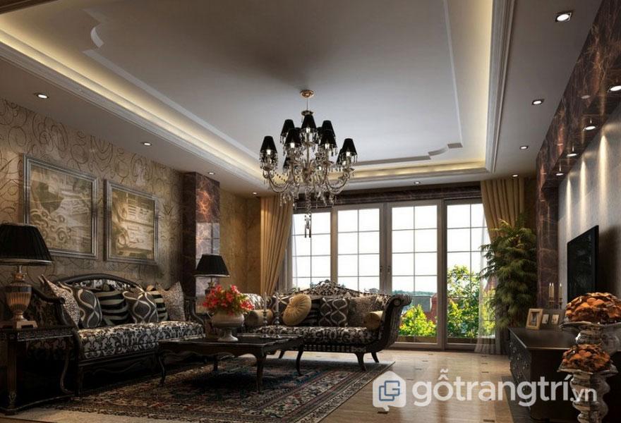 Nội thất trang trí phòng khách tân cổ điển lộng lẫy, xa hoa (Ảnh: Internet)