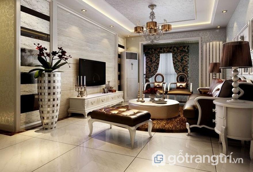 Nội thất nhà phong cách tân cổ điển trong phòng khách thiết kế khá chỉn chu, đan xen giữa nét cổ điển và hiện đại (Ảnh: Internet)