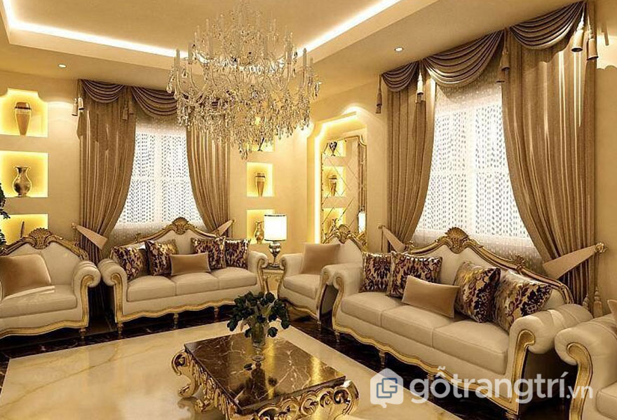 Nội thất phòng khách biệt thự tân cổ điển vô cùng quyến rũ với bộ bàn ghế sofa quý tộc (Ảnh: Internet)