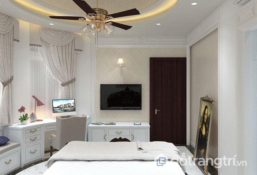 Phòng ngủ tân cổ điển sử dụng tông màu trắng tinh khôi quyến rũ (Ảnh: Internet)