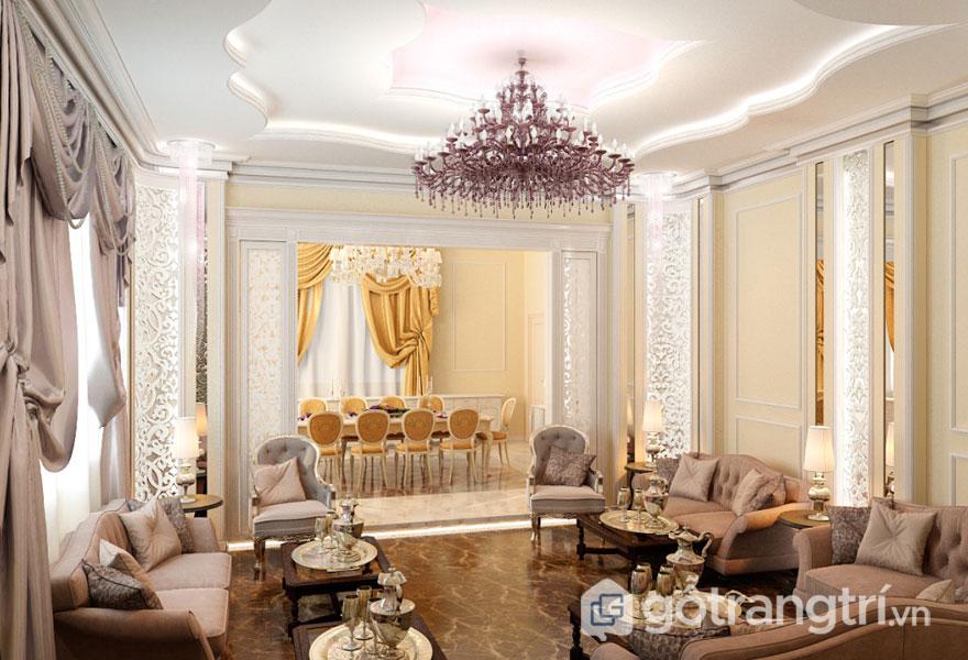 Phòng khách tân cổ điển thiết kế liên thông với phòng ăn (Ảnh: Internet)