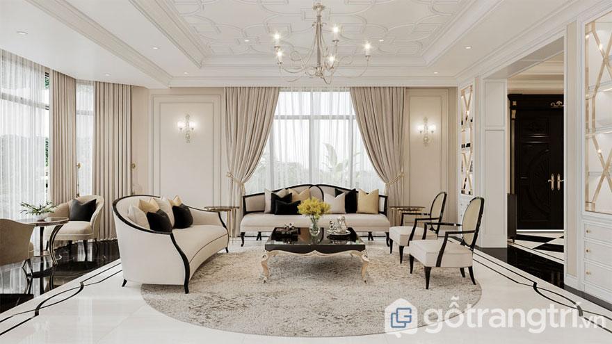 Phòng khách nổi bật với tông màu be và sắc trắng (Ảnh: Internet)