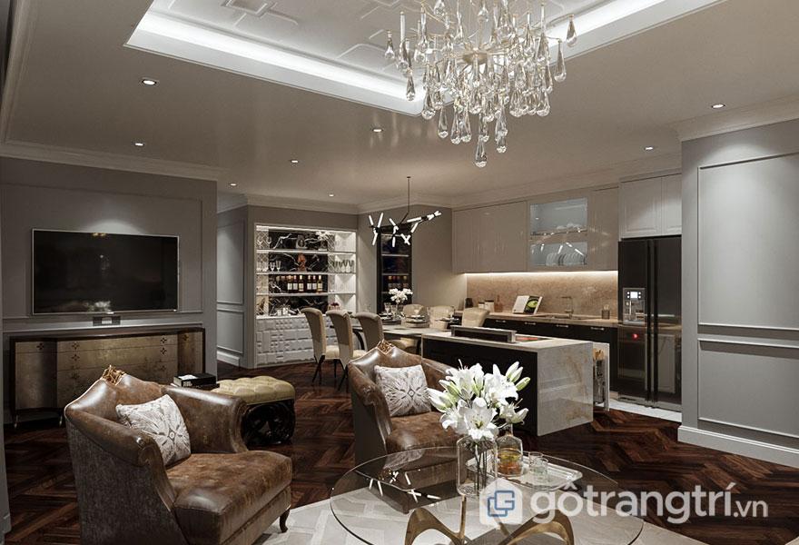 Phòng khách với tông màu nâu ấm áp (Ảnh: Internet)