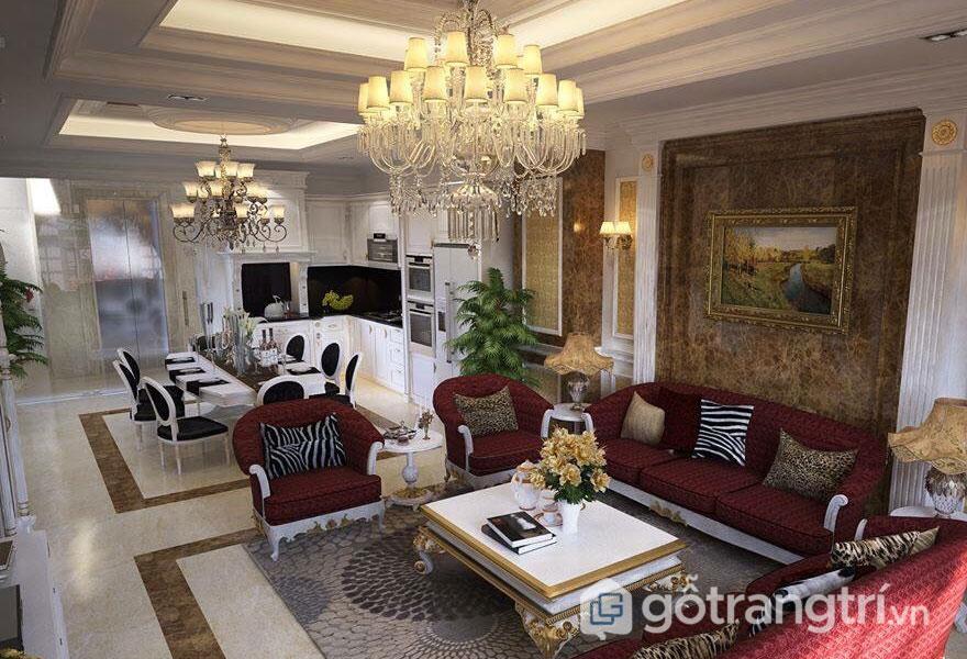 Phòng khách tân cổ điển khá hài hòa, lộng lẫy với đèn trang trí cổ điển (Ảnh: Internet)