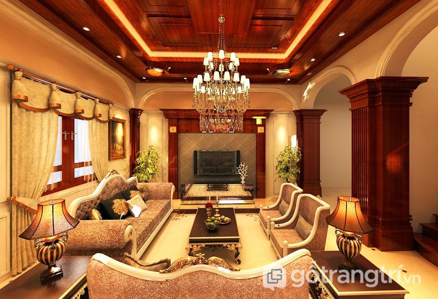 Thiết kế nội thất tân cổ điển phòng khách mang vẻ đẹp trường tồn thời gian (Ảnh: Internet)
