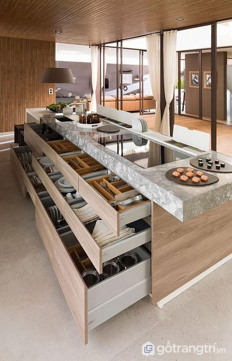 Tủ bếp được thiết kế ngăn kéo đựng đồ thông minh (Ảnh: Pinterest)