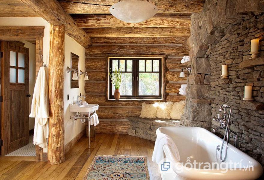 Nhắc đến Rustic thì chất liệu gỗ và đá tự nhiên là được ưu tiên hàng đầu (Ảnh: Internet)