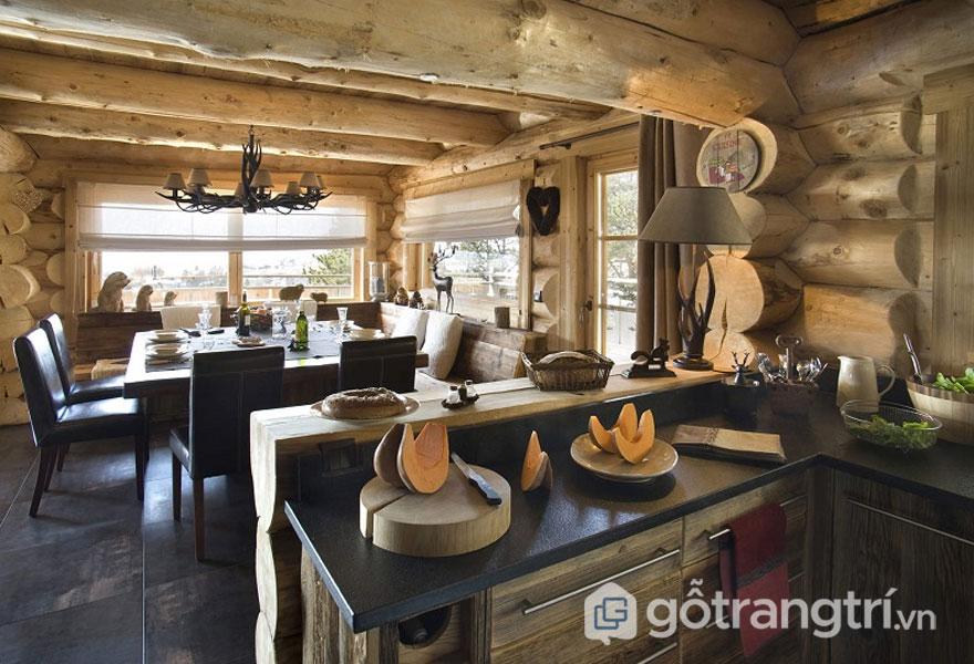 Bếp trở thành điểm nhấn thu hút của thiết kế căn hộ 50m2 Rustic (Ảnh: Internet)