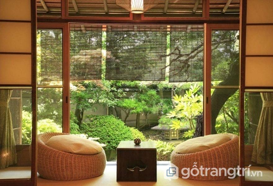 Góc hiên nhà rất đẹp, bình yên theo nội thất phong cách thiền zen (Ảnh: Internet)