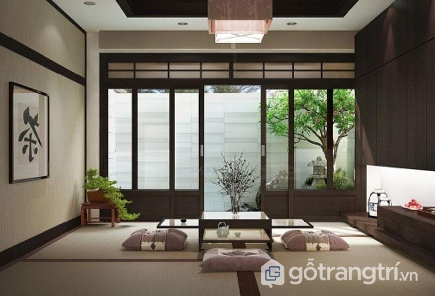 Phòng khách mang đậm nội thất phong cách thiền zen (Ảnh: Internet)